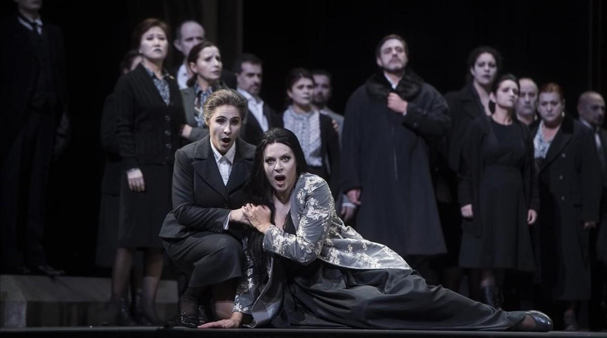 Barcelona 29 09 2016 Icult Ensayo para antepiano de la opera Macbeth de Verdi que se representara en el LIceo en breve Fotografia de Jordi Cotrina